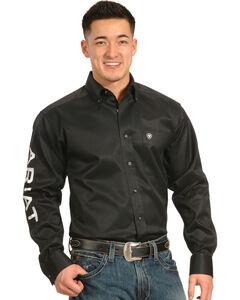 Ariat Men's Black Long Sleeve Logo Western Shirt , Black, hi-res