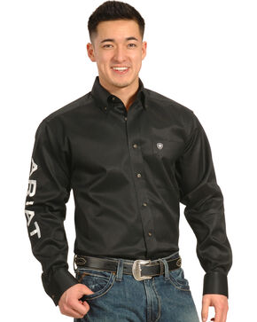 Ariat Men's Black Long Sleeve Logo Western Shirt , Black, hi-res