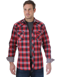 Wrangler Men's 20X Red and Black Plaid Western Shirt , , hi-res