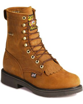 "Justin 8"" Lace-R Waterproof Work Boots, Aged Bark, hi-res"