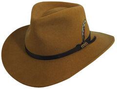 Scala Men's Pecan Brown Crushable Wool Felt Outback Hat, , hi-res