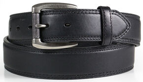 American Worker Men's Classic Black Leather Belt, Black, hi-res