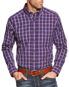Ariat Men's Osmond Pro Series Performance Long Sleeve Shirt, Purple, hi-res