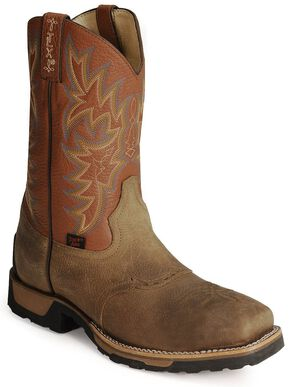 Tony Lama TLX Cowboy Work Boots - Steel Square Toe, Antique Brown, hi-res