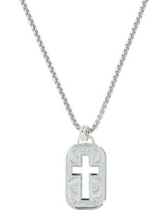 Montana Silversmiths Western Lace Cross Token Necklace, , hi-res