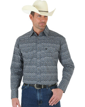 Wrangler George Strait Double Pocket Paisley Snap Shirt, Black, hi-res