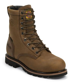 """Justin Worker Waterproof 8"""" Lace-Up Work Boots - Composition Toe, Tan, hi-res"""