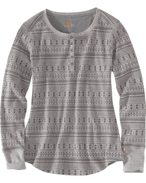 Carhartt Women's Meadow Printed Henley Shirt , Dark Grey, hi-res