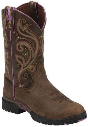 Justin Brown and Purple George Strait Waterproof Cowgirl Boots - Round Toe , Golden, hi-res