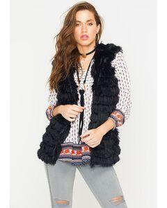 R Cinco Ranch Women's Furry Hooded Vest, , hi-res