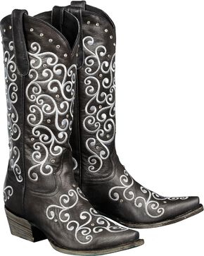 Lane Willow Cowgirl Boots - Snip Toe, Black, hi-res