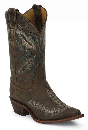 Justin Bent Rail Distressed Puma Cowgirl Boots - Snip Toe, Chocolate, hi-res