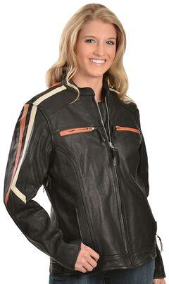 Interstate Leather Ladies Orange and Cream Striped Jacket, , hi-res