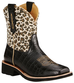 Ariat Fatbaby Black Rosie Gator Print Cowgirl Boots - Wide Square Toe , , hi-res