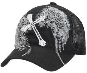 Blazin Roxx Cross & Wing Embroidered Mesh Back Cap, Black, hi-res