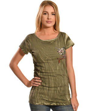 Liberty Wear Women's Olive Vintage Life Style Top , Olive, hi-res