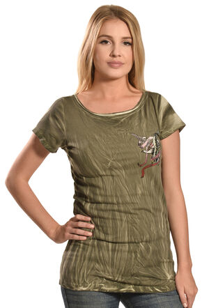 Liberty Wear Women's Olive Vintage Life Style Top - PLus Sizes, Olive, hi-res