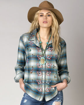 Miss Me Vintage Women's Beaded Plaid Shirt , Blue, hi-res