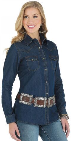 Wrangler Women's Denim Western Yoke Long Sleeve Shirt, , hi-res