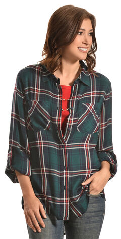 New Direction Sport Women's Emerald & Red Plaid Western Shirt, , hi-res