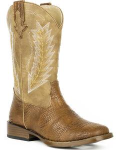 Roper Youth Boys' Brown Charlie Cowboy Boots - Square Toe , , hi-res