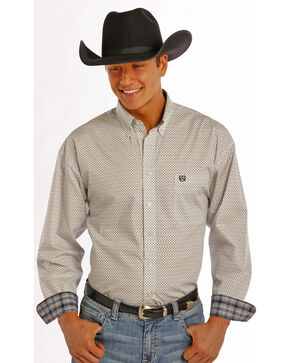 Panhandle Slim Men's White Poplin Print Western Shirt , Multi, hi-res