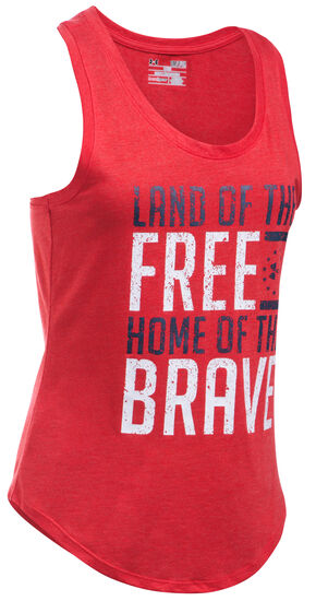 Under Armour Women's Red Charged Cotton® Tri-Blend Freedom Brave Tank, Red, hi-res