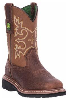 John Deere Boys' Johnny Popper Mesquite Western Boots - Square Toe, , hi-res