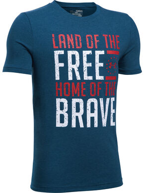 Under Armour Freedom Boy's Navy Land of the Free Tactical Shirt, Navy, hi-res