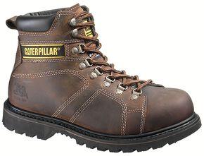 "Caterpillar 6"" Silverton Lace-Up Work Boots - Round Toe, Dark Brown, hi-res"