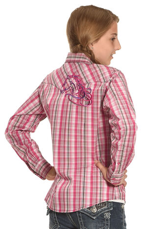 Cowboy Hardware Girls' Pink Sunset Plaid Shirt , Pink, hi-res