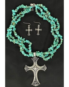 Blazin Roxx Turquoise Stone Triple Strand Cross Charm Necklace & Earrings Set, Turquoise, hi-res