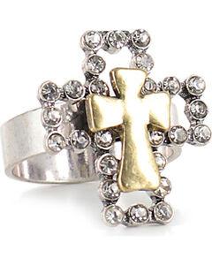Shyanne Women's Rhinestone Cross Ring, Pink, hi-res