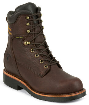"Chippewa Men's Oiled Walnut 8"" Lace-Up Waterproof Work Boots - Round Toe, Walnut, hi-res"