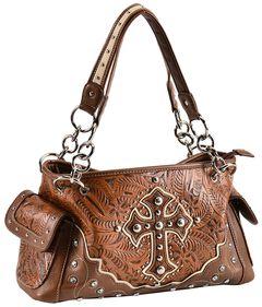 Blazin Roxx Tan Embossed Cross Satchel Bag, , hi-res