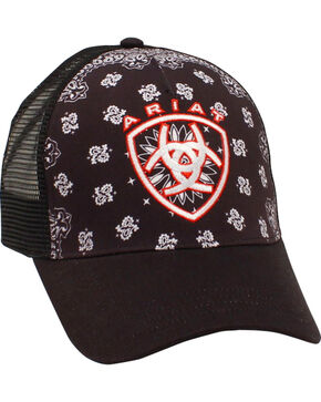 Ariat Women's Black Paisley Mesh Ballcap, Black, hi-res