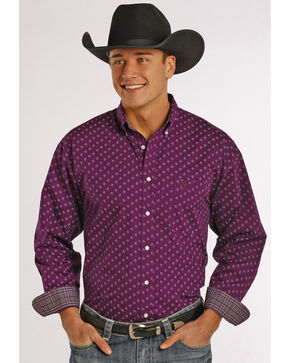 Panhandle Slim Men's Purple Poplin Print Western Shirt, Maroon, hi-res