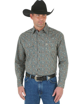 Wrangler George Strait Men's Forest Green Print Poplin Western Shirt , Forest Green, hi-res