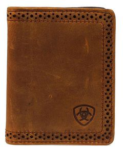 Ariat Perforated Edge & Embossed Logo Bi-fold Wallet, Brown, hi-res
