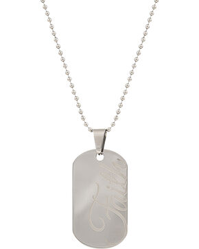 Montana Silversmiths Men's Stainless Steel Faith Token Necklace, Silver, hi-res