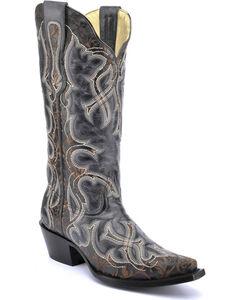 Corral Vintage Black Laser Cowgirl Boots - Snip Toe , , hi-res