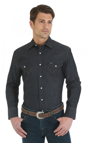 Wrangler Denim Advanced Comfort Work Shirt, Denim, hi-res