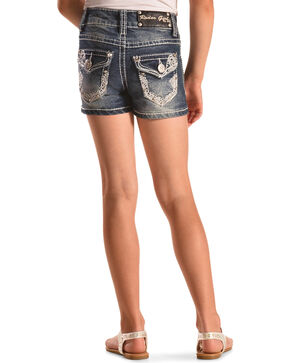 Rodeo Girl Embellished Flap Pocket Denim Shorts , Indigo, hi-res