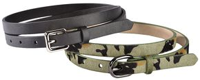 Red Ranch Camo Print Hair-on Hide & Black Skinny Belt Set, Camouflage, hi-res