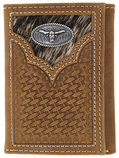 Cody James Men's Hair-on-Hide Longhorn Trifold Wallet, , hi-res