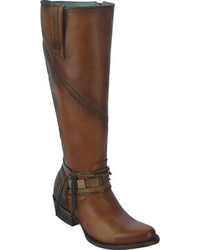Corral Women's Tall Zip Riding Boots - Round Toe, Cognac, hi-res
