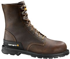 """Carhartt 8"""" Unlined Dark Brown Boots - Safety Toe, , hi-res"""