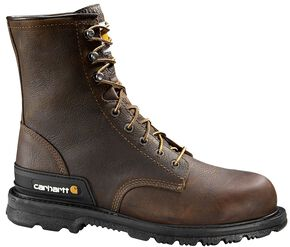 "Carhartt 8"" Unlined Dark Brown Boots - Safety Toe, Dark Brown, hi-res"