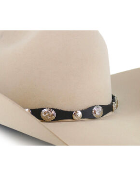 Cody James® Solid Concho Hat Band, Black, hi-res