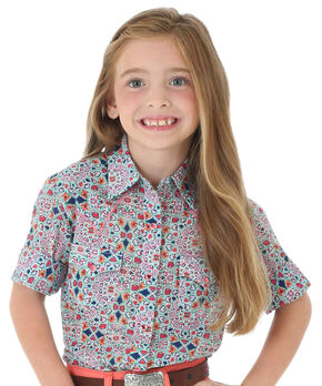 Wrangler Girls' Multi Print Whipstitch Yoke Short Sleeve Shirt, Multi, hi-res